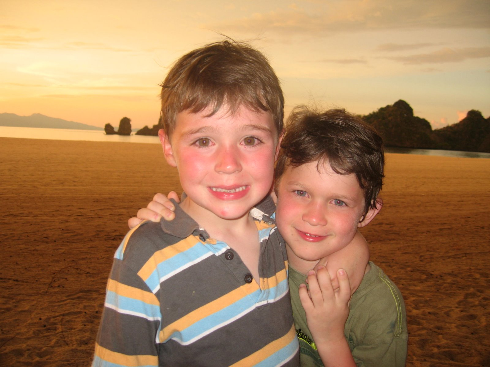 Eli and Hugo on the beach in Malaysia. Ah, expat life.